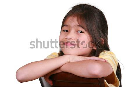 Happy little girl, resting chin on arms, smiling Stock photo © jarenwicklund