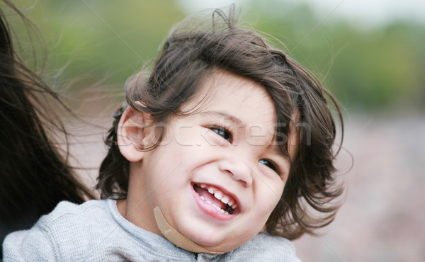 Happy, smiling, little two year old biracial  boy Stock photo © jarenwicklund