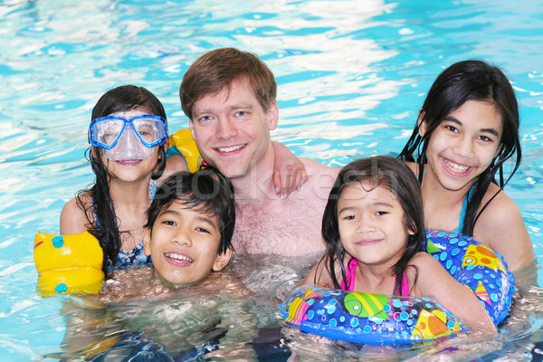 Family swimming in pool Stock photo © jarenwicklund