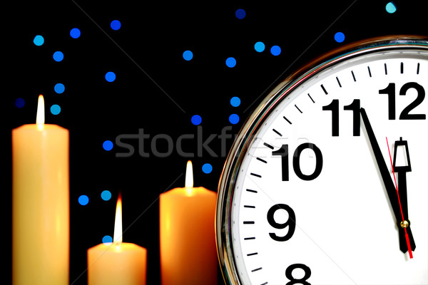 Saat ayarlamak üç gece yarısı mavi Stok fotoğraf © jarenwicklund