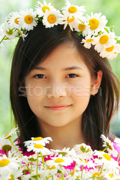 Little girl with crown of daisies Stock photo © jarenwicklund