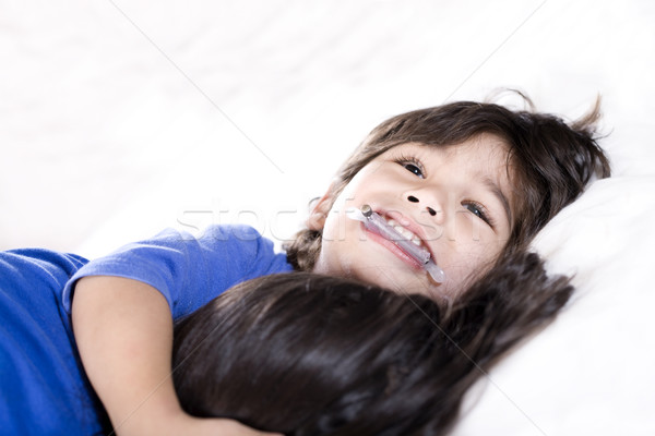 Disabled little boy hugging Stock photo © jarenwicklund