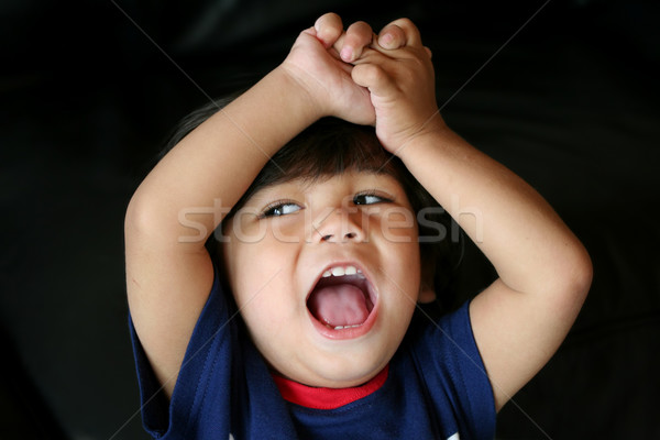 Adorable little toddler cheering, arms lifted Stock photo © jarenwicklund