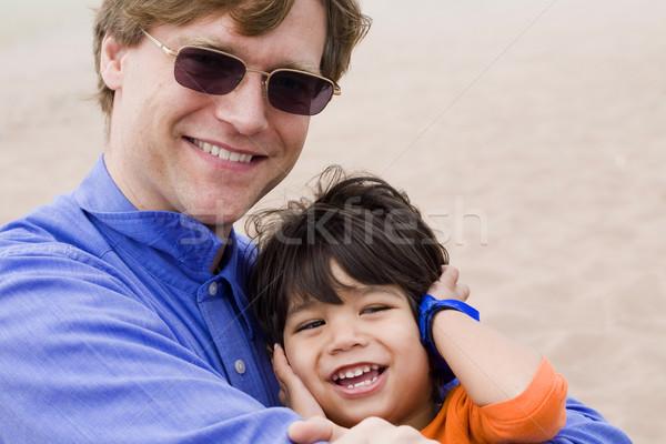 Zdjęcia stock: Syn · ojca · śmiechem · wraz · plaży · lata · piasku