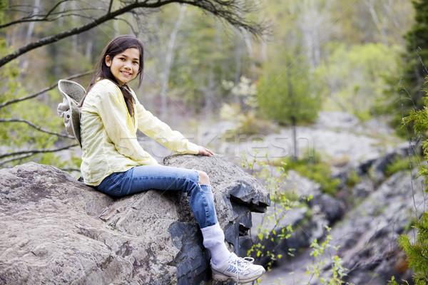 Girl sitting on rock cliff edge Stock photo © jarenwicklund