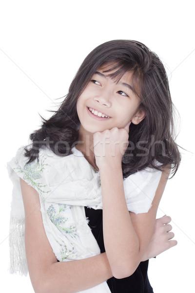 美しい 若い女の子 エレガントな ドレス 頭 手 ストックフォト © jarenwicklund