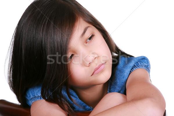 Szomorú kilenc éves lány ül szék unatkozik Stock fotó © jarenwicklund