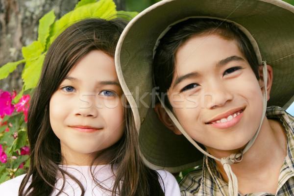 弟 姉妹 笑みを浮かべて 屋外 夏 少女 ストックフォト © jarenwicklund