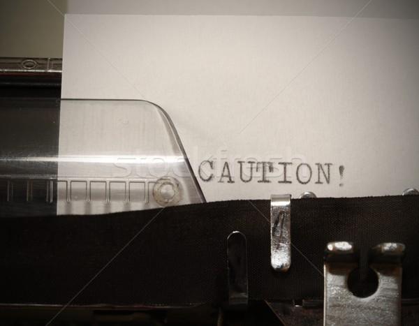 ストックフォト: 注意 · 文字 · 古い · 黒 · 白 · 紙