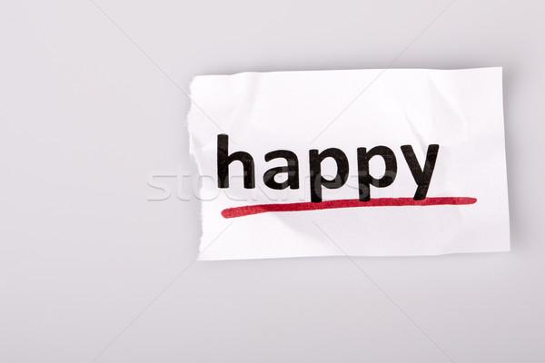 Photo stock: Mot · heureux · papier · déchiré · blanche · triste · rouge