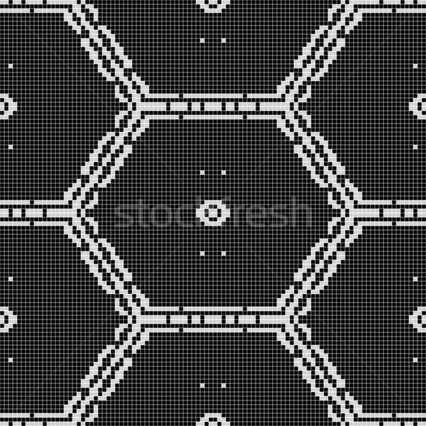 Schwarz weiß Muster möglich Vorhang Stoff Tischdecke Stock foto © jarin13