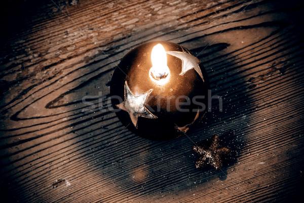 Karácsony dekoráció gyönyörű gyertya fapadló étel Stock fotó © jarin13