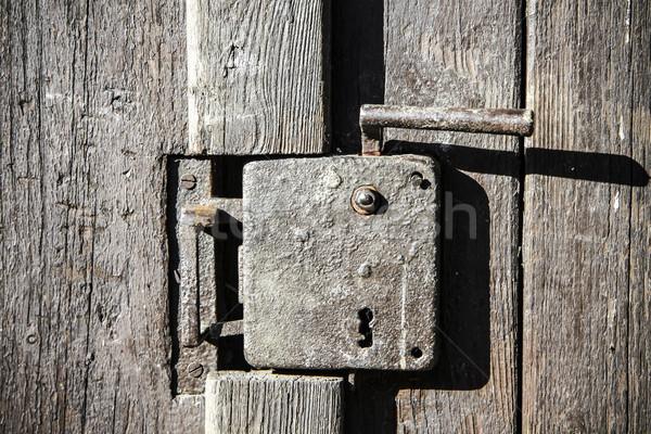 Alten Tür Griff schwarz Holz Türen Stock foto © jarin13