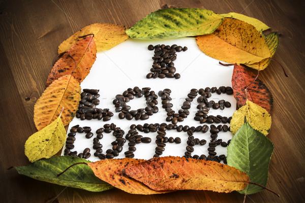 Szeretet kávé keret papír absztrakt fény Stock fotó © jarin13