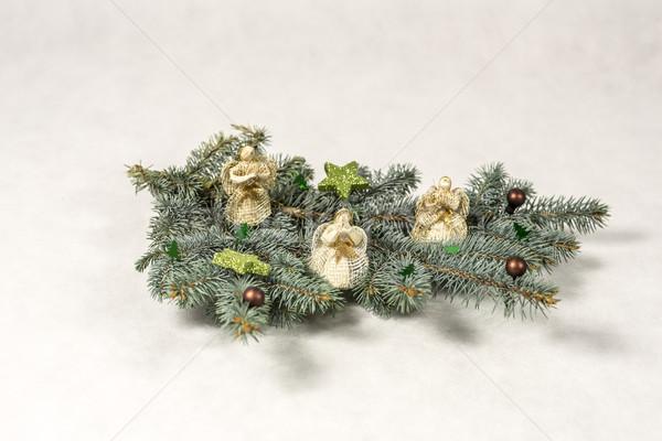 Noel dekorasyon şube melekler ağaç doğa Stok fotoğraf © jarin13