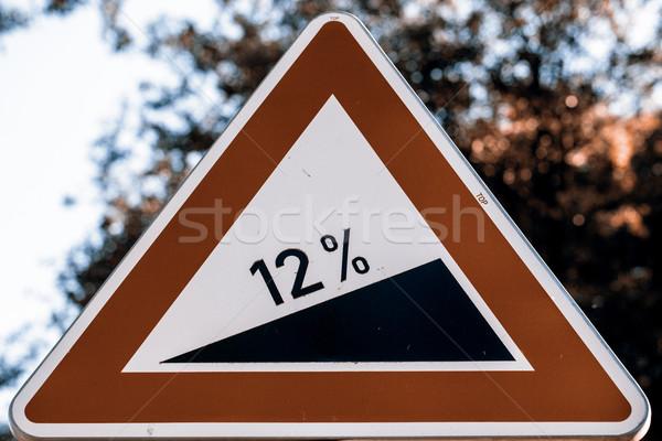 Információ jel út 12 leszármazás felirat Csehország Stock fotó © jarin13