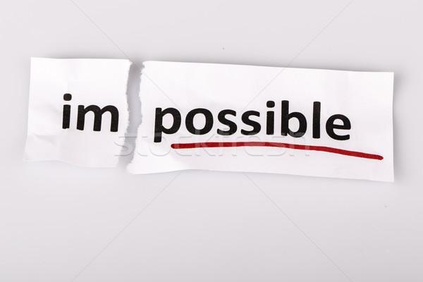 слово невозможное возможное рваной бумаги белый бизнеса Сток-фото © jarin13