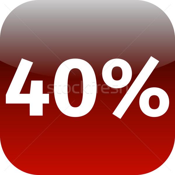 40 százalék ikon piros fehér telefon Stock fotó © jarin13