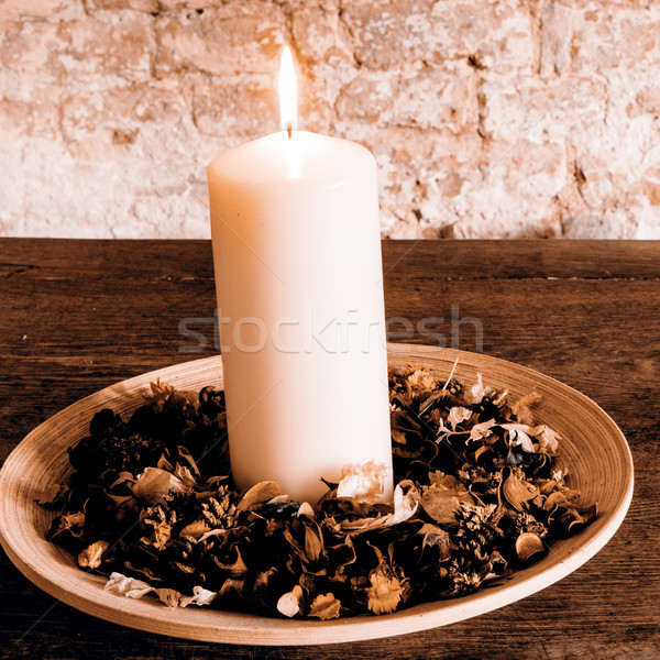 Candle on the wooden plate Stock photo © jarin13