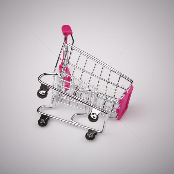 Bevásárlókocsi fehér háttér áruház bolt acél Stock fotó © jarin13