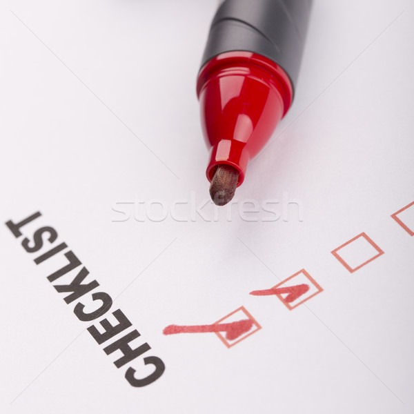 Stock photo: Checklist on white with marker