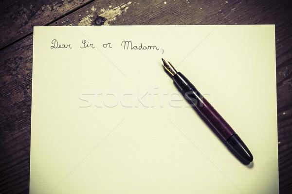 ódivatú levél toll üzlet iroda fa Stock fotó © jarin13