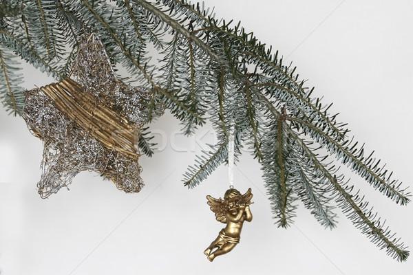 Natal decoração dourado anjo verde ramo Foto stock © jarin13