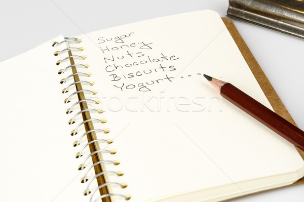 shopping list in the diary with pencil Stock photo © jarin13