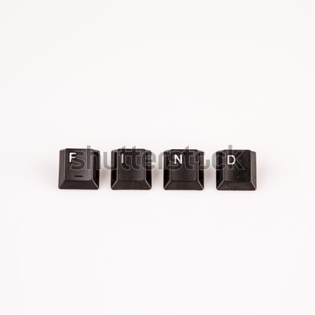 Odnaleźć słowo napisany czarny komputera przyciski Zdjęcia stock © jarin13