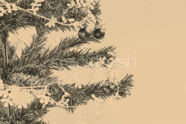 Noel dekorasyon yeşil şube mutlu doğa Stok fotoğraf © jarin13