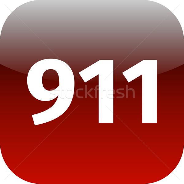 911 nood icon witte medische telefoon Stockfoto © jarin13