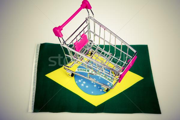 розовый Корзина Бразилия флаг синий магазине Сток-фото © jarin13
