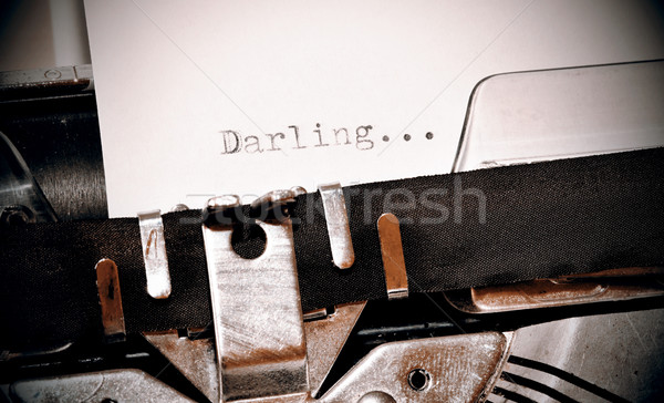 Darling word typed on old black typwriter Stock photo © jarin13
