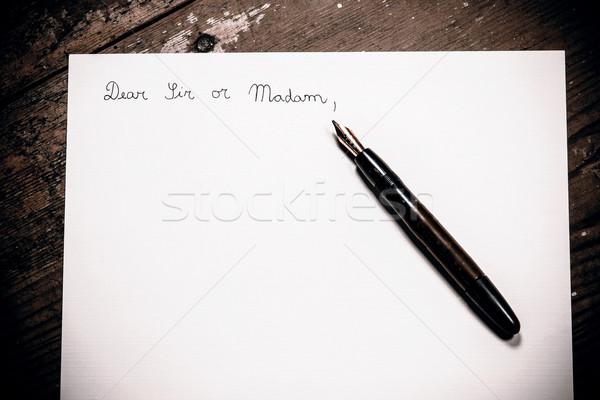 старомодный письме пер бизнеса служба древесины Сток-фото © jarin13