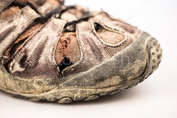 Starych uszkodzenie buty biały szczegół uszkodzony Zdjęcia stock © jarin13