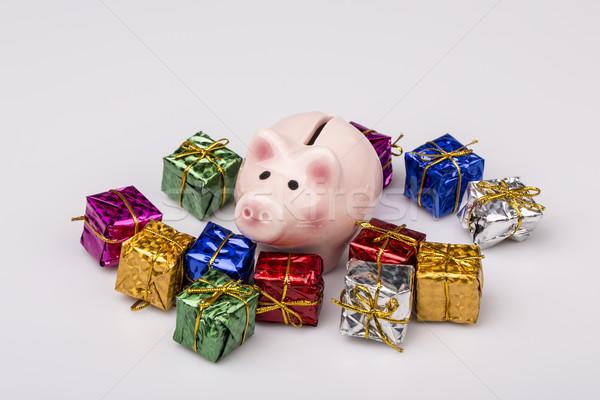 Foto stock: Cerdo · dinero · cuadro · Navidad · regalo · blanco