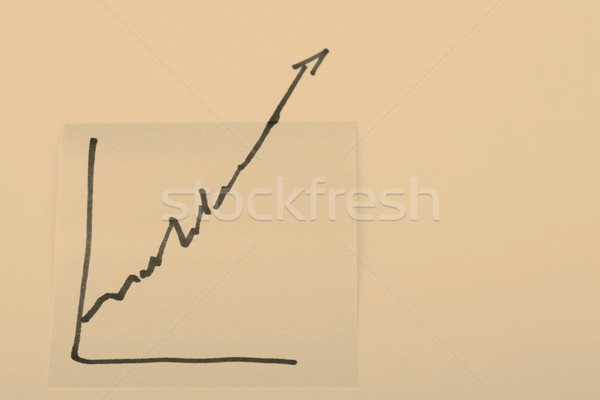 note paper with finance business graph going up - profit Stock photo © jarin13