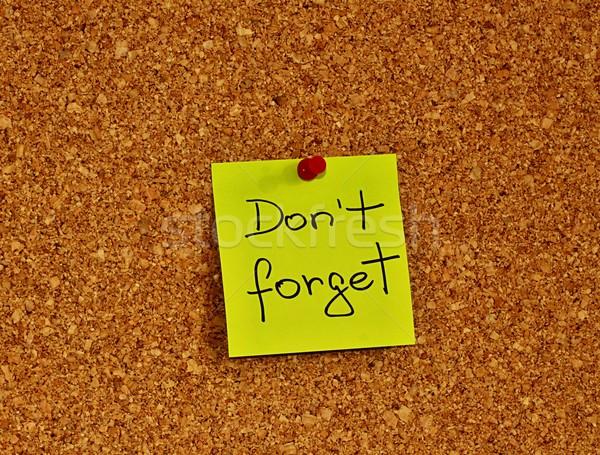 Hirdetőtábla öntapadó jegyzet dugó egy citromsárga szöveg Stock fotó © jarin13