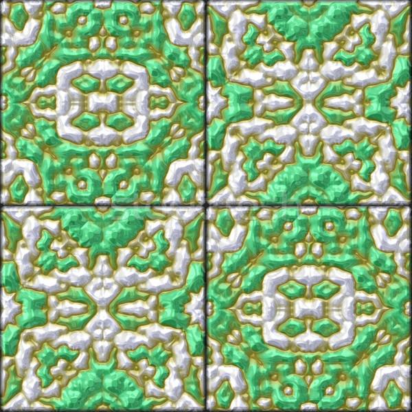 retro green glazed genarated tiles - texture Stock photo © jarin13