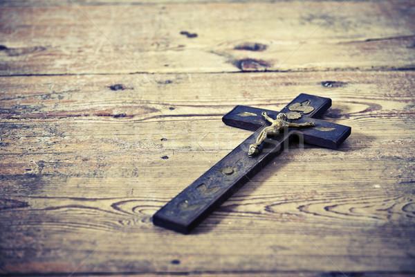 öreg kereszt Jézus padló gyönyörű fapadló Stock fotó © jarin13