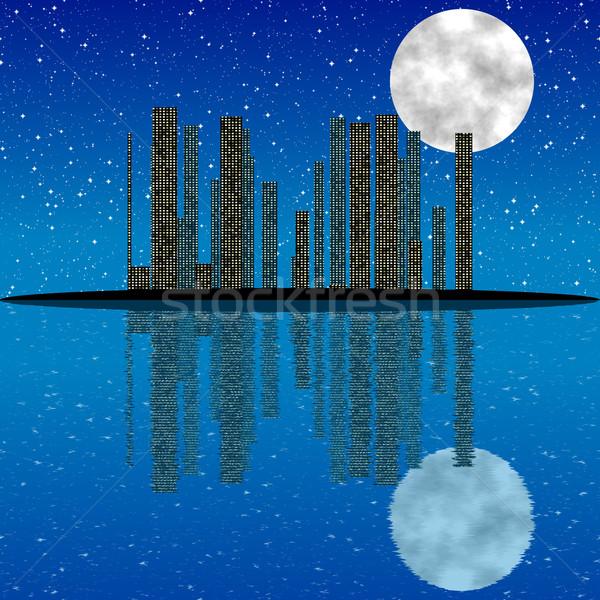 Night City księżyc gwiazdki refleksji wody niebo Zdjęcia stock © jarin13