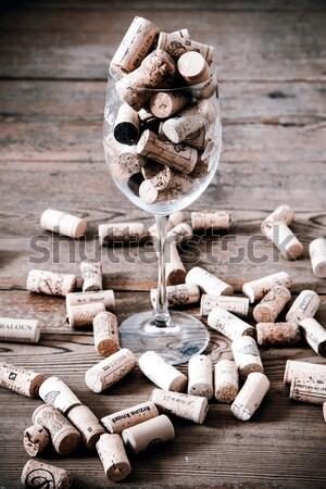 Vintage cortiça vidro garrafa de vinho piso de madeira madeira Foto stock © jarin13