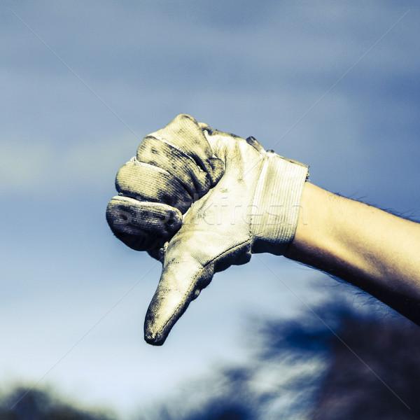 Main gant gris sale santé cuir Photo stock © jarin13