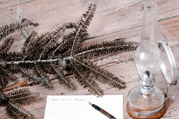 ódivatú levél toll gally lámpa iroda Stock fotó © jarin13