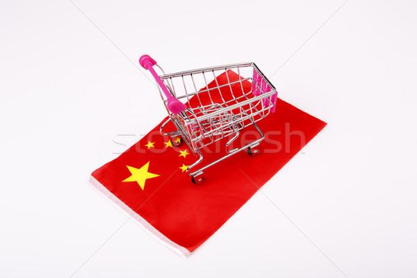 Roze winkelwagen China vlag Rood store Stockfoto © jarin13