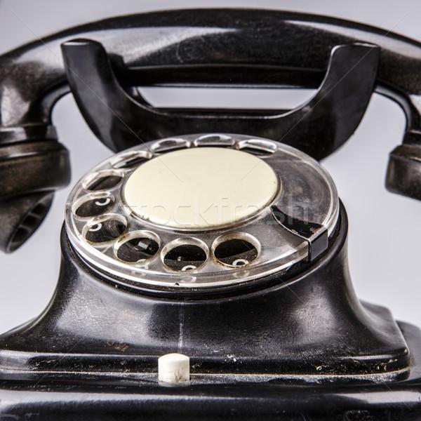 öreg fekete telefon por fehér izolált Stock fotó © jarin13