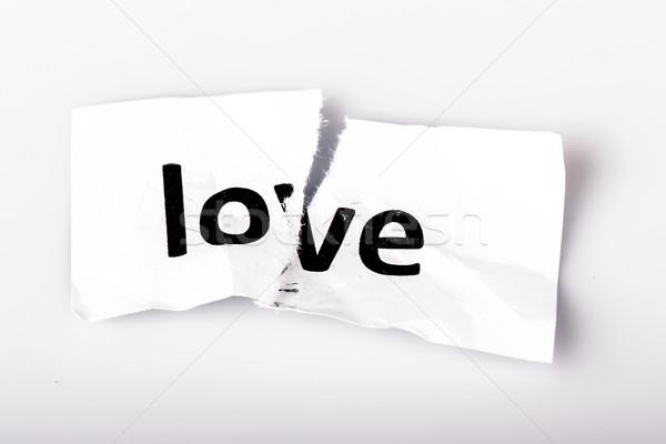 любви слово написанный рваной бумаги белый бумаги Сток-фото © jarin13