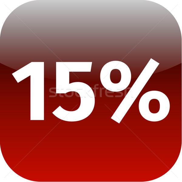 15 yüzde ikon düğme kırmızı beyaz Stok fotoğraf © jarin13