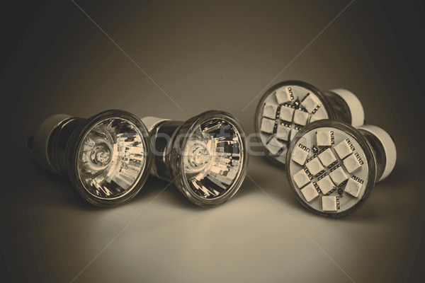 Modern LED bulbs with classic old bulbs Stock photo © jarin13