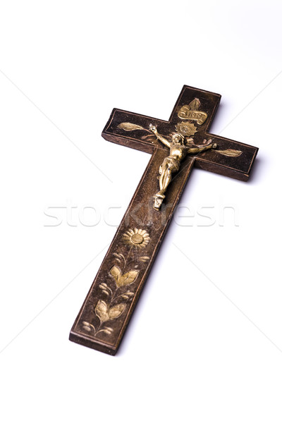 Eski ahşap çapraz İsa güzel beyaz Stok fotoğraf © jarin13